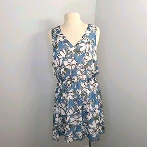 Banana Republic Blue White Open Back Dress 10P